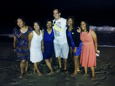 The Nepali �Seven Summits� delegation, the first all-women team to climb the highest summit on each continent, at the beach in front of Gladstones Restaurant in Malibu